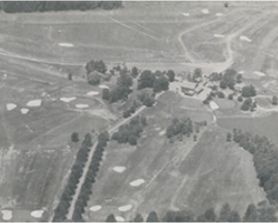 Black and white aerial shot of Spring House in 1963